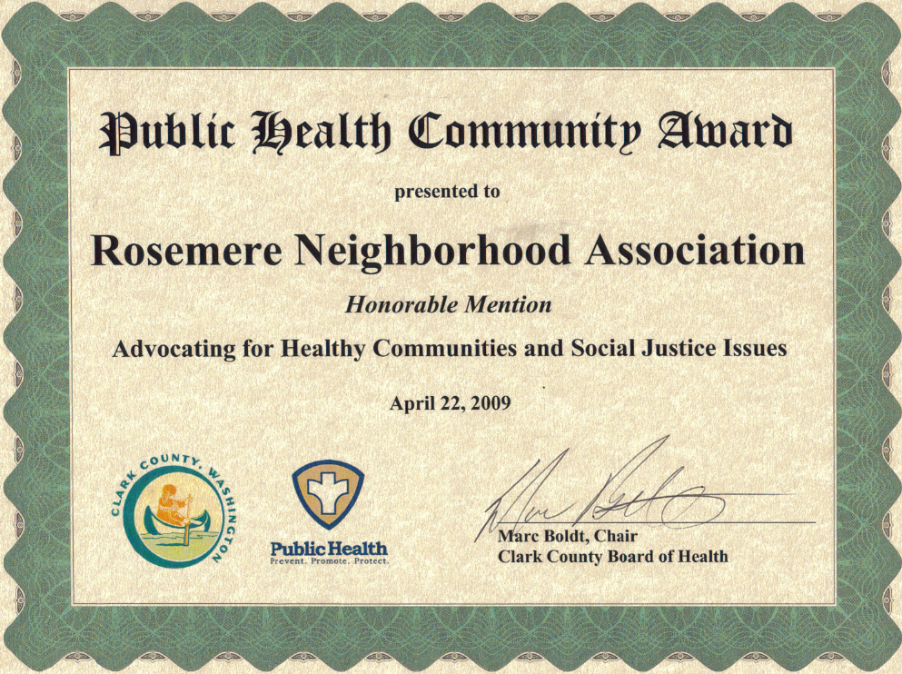Rosemere Neighborhood Association Honored with Public Health ...