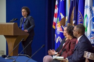 CEQ Chair Nancy Sutley, EPA Administrator Lisa P. Jackson, NEJAC Chair Elizabeth Yeampierre, and South Carolina State Representative Harold Mitchell deliver opening remarks at the White House Forum on Environmental Justice (Photo by Eric Vance, US EPA)